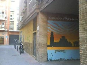 mural calle capuchinos Murcia 300x225 Mural en un garaje del Barrio del Carmen