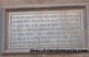 plaza Santo Domingo Murcia placa La placa de fray Diego de Cádiz en la iglesia de Santo Domingo de Murcia